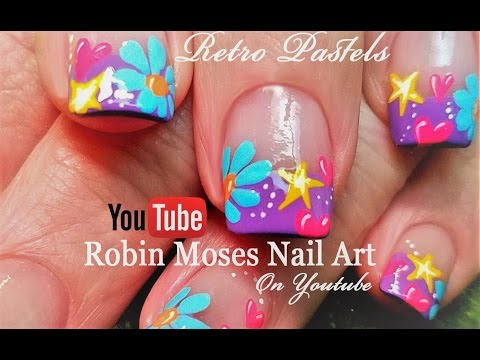 Spring Flower Nails!   Easy DIY Daisy Heart and Stars Nail Art Design Tutorial