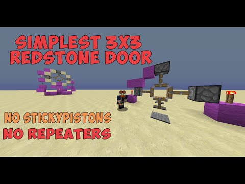 Simplest 3x3 Redstone Door - NO STICKY PISTONS - NO REPEATERS