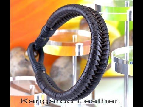 B-261 HOW TO BUY Genuine Kangaroo Leather Tigers Eye Stone Bracelet.