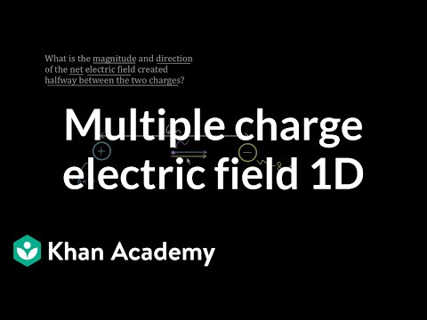Net electric field from multiple charges in 1D | Physics | Khan Academy