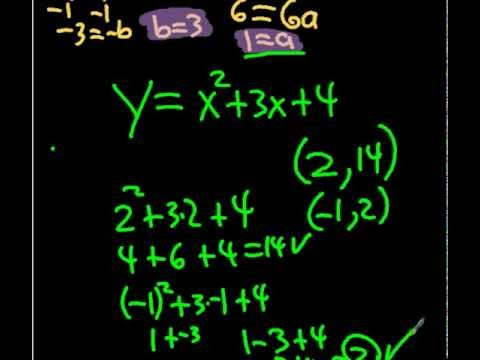 writing quadratic equations from 3 points