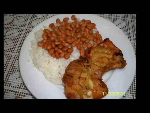 Baked Pork Chops With White Rice And Pinto Beans