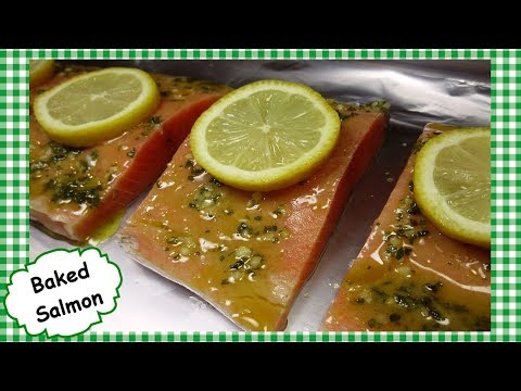 The BEST Oven Baked Salmon ~ Easy Healthy Lemon Garlic Salmon Recipe
