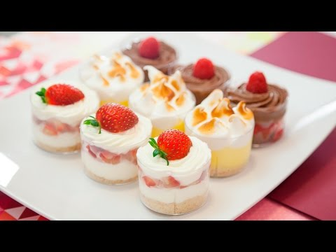 MINI DESSERT SHOOTERS (RASPBERRY BROWNIE, STRAWBERRY CHEESECAKE, & LEMON MERINGUE)