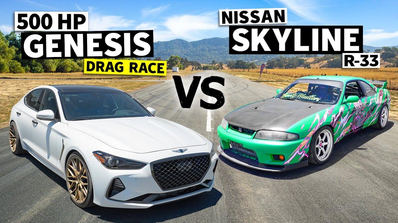 Skyline vs. Hyundai? 600-ish hp R33 GT-R Races a 500hp Genesis // This vs. That[HOONIGAN]