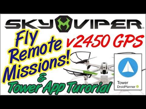 Sky Viper V2450 GPS Drone Auto Mode Remote Missions. Tower App Tutorial