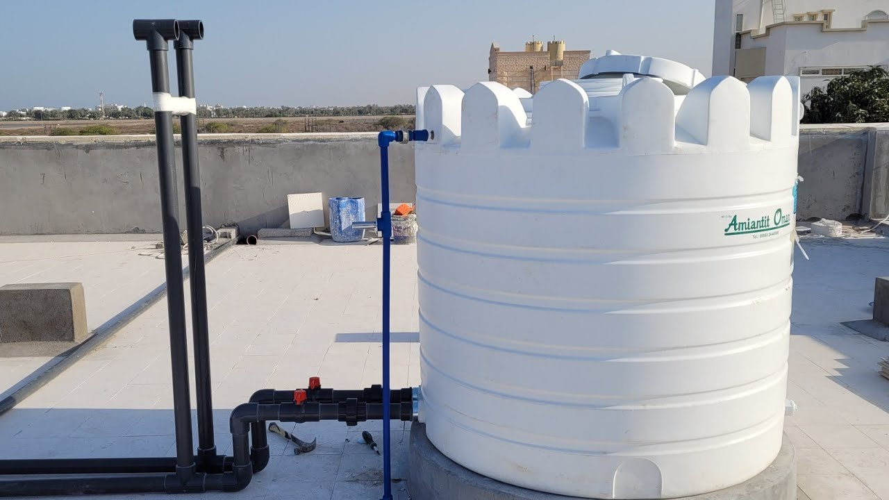 """400 L Water Tank Installed & 2"""" HP Pipe /Union /Gate Valve/Air Pipe complete Work on The Roof"""