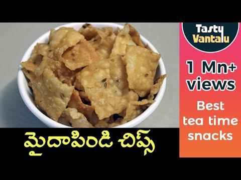 Maida pindi chips in Telugu - Easy Pindi vantalu snacks for kids by Tasty Vantalu