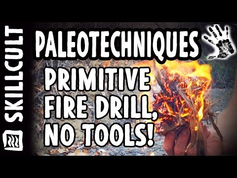 Making a Stone Age Hand Drill Friction Fire With Stuff Gathered on the Spot