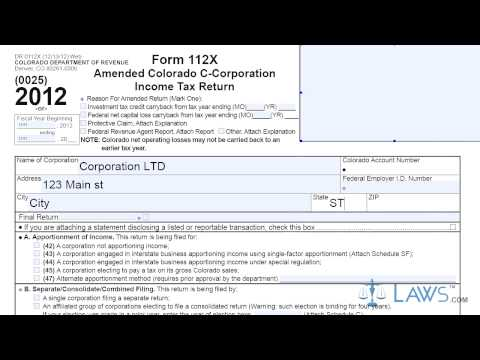 Form 112X Amended Colorado C Corporation Income Tax Return