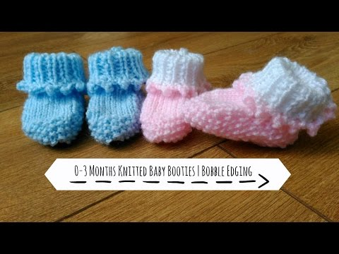 0-3 Months Knitted Booties | Bobble Edging