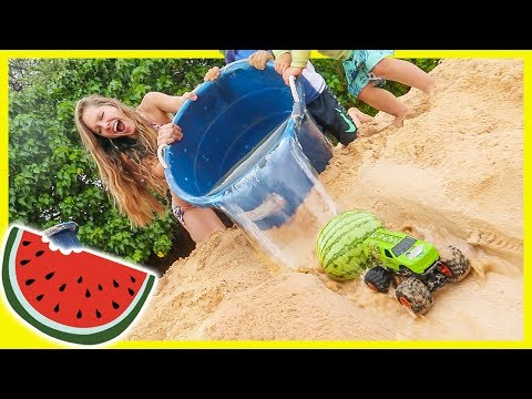 MONSTER TRUCK WATERMELON RAMP at the BEACH!