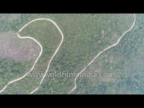 Winding forest road in India's north-east - fly over Arunachal rain forest