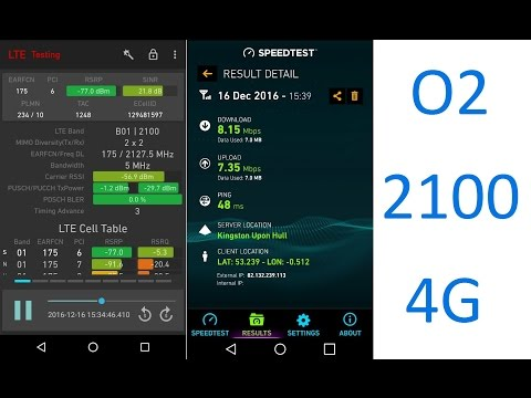O2 UK 4G 2100MHz (L21)  Including Speedtest+cell ID