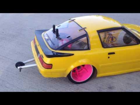 Homemade RC drag car- rx7 (burnout)