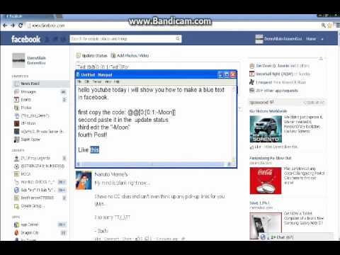 Facebook: Blue Text