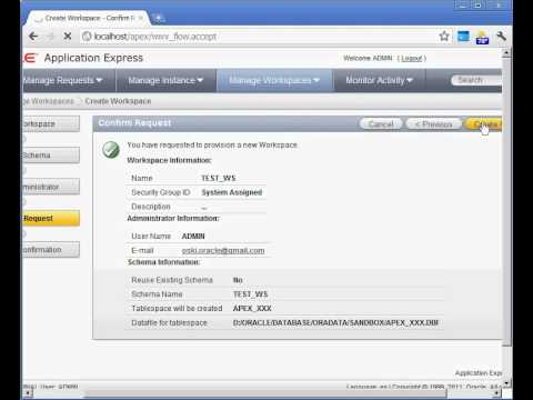 Oracle Application Express - Workspaces