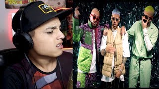 "[Reaccion] Jhay Cortez, J. Balvin, Bad Bunny - No Me Conoce (Remix) - ""Sismo en pleno Video"""