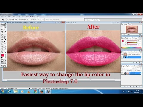 Easiest way to change the lip color in Photoshop 7.0