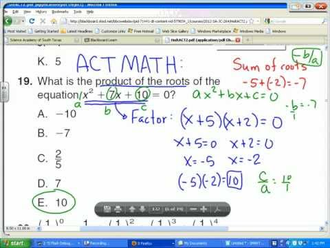 ACT Math:  Sum and product of the roots for a quadratic equation