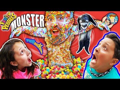 CEREAL MONSTER PRANK! Fruity Pebbles + Glue + Dallas the Pizza Guy + Ferret (FUNnel Vison Vlog)