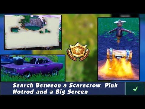 Search Between A Scarecrow, Pink Hotrod and a Big Screen Fortnite Season 4 Week 2 Challenge