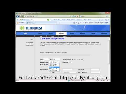 Configuring NTC -ADSL- Digicom Router