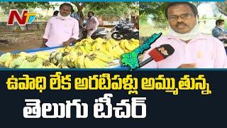 వీధుల్లో అరటిపళ్ళు అమ్ముతున్న టీచర్ | Teacher Selling Bananas in Lockdown | NTV