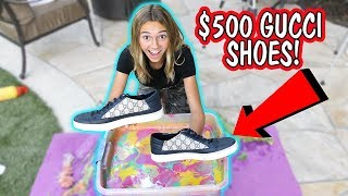 HYDRO DIPPING MY BROTHER'S GUCCI SHOES | Kayla Davis