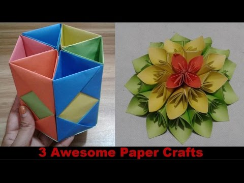 Top 3 awesome paper crafts at home - paper crafts for kids