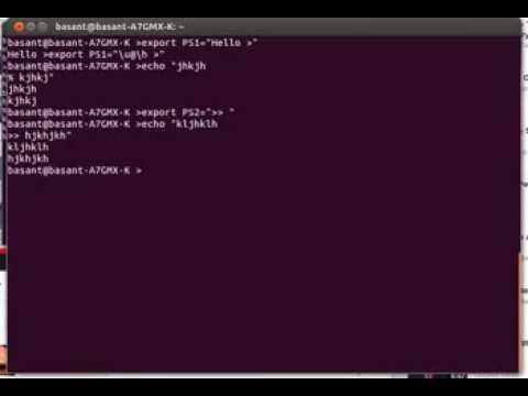 How to change the primary and secondary terminal prompts using PS1 PS2 shell variables?