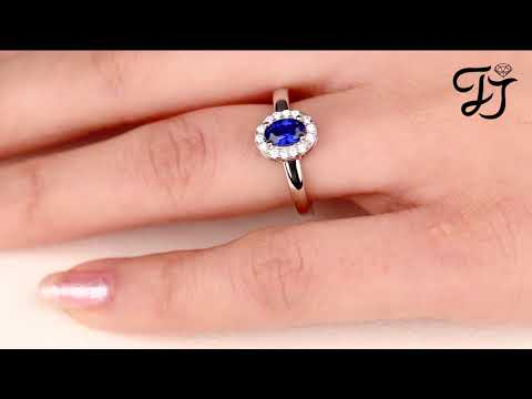 Sterling Silver Oval Simualted Blue Sapphire Halo Rings - FarJary