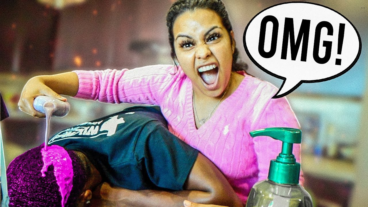 HAIR DYE PRANK ON HUSBAND!! | HE FREAKED OUT 😱