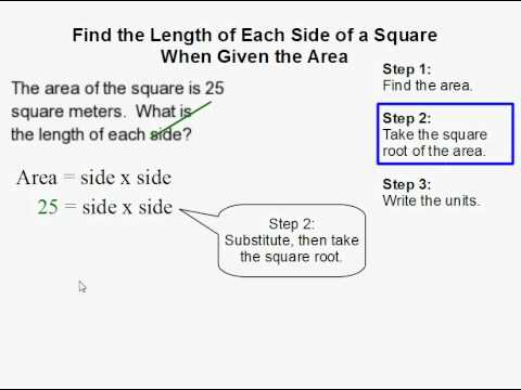 How to Find the Length of Each Side of a Square When Given the Area of a Square