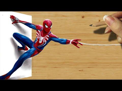 3D Pencil Drawing: Spider-Man in PlayStation 4 Video Game PS4 - Speed Draw   Jasmina Susak