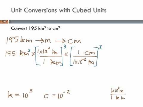 Unit Conversions with Cubed Units: cubic km to cubic cm