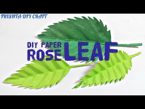 How to make a paper rose LEAF / Paper leaf DIY / Rose paper leaves