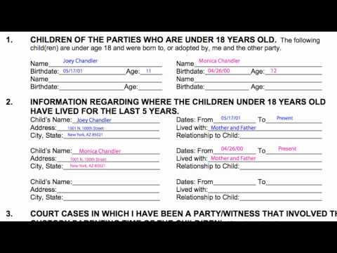 How-to Divorce in Arizona, B7: Affidavit of Minor Children