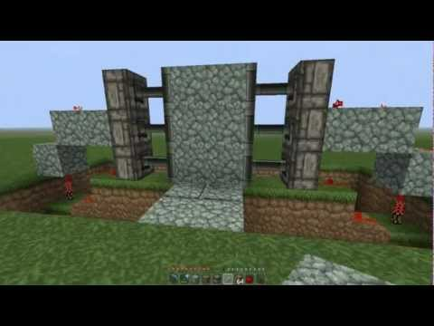 Minecraft - How to make sliding doors using sticky pistons (With Pressure Plates)