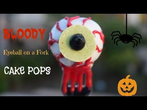 How to Make Bloody Eye Ball on a Fork Cake Pops