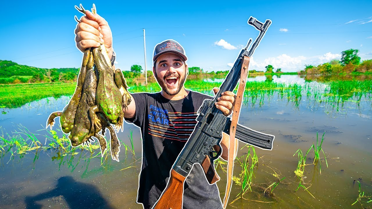 Hunting GIANT Bullfrogs at My FLOODED FARM!!! (Catch Clean Cook)