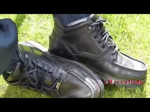 d862740bdda881 Black Rockport XCS Boots With Lacoste Trackies And White Footie Socks