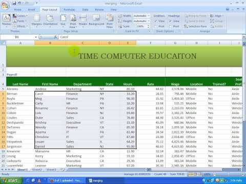 Free Ms Excel 2007 In Telugu Page setup part 6(www.timecomputers.in)