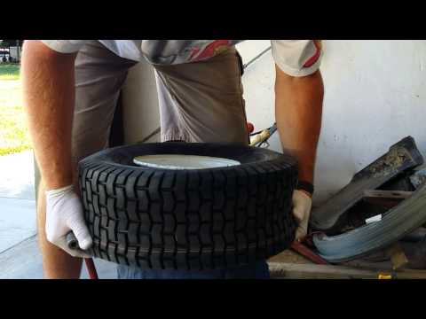 How to: Seating lawnmower tire bead using a 5 gallon bucket.