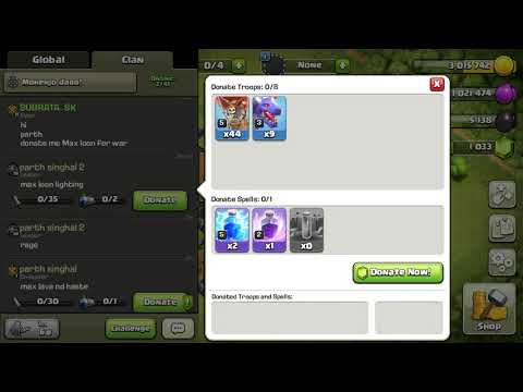 How to Rage spell donate in my coc base...