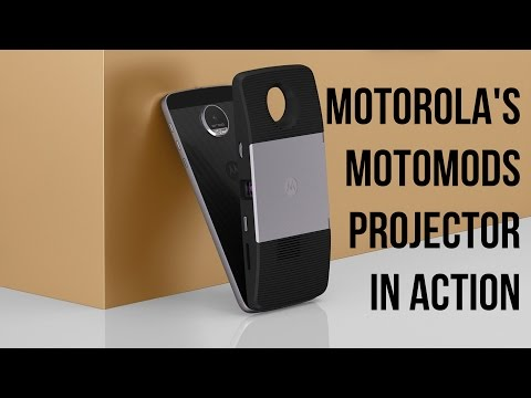 Motorola's MotoMods Projector in action with the Moto Z