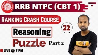 Class 22|| RRB NTPC || Ranking Crash Course||REASONING||by Pulkit Sir || Puzzle|| part 2