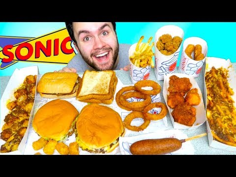 TRYING SONIC! THE WHOLE MENU! - Burgers, Chili Cheese Fries, Corn Dogs, & MORE Fast Food Taste Test!