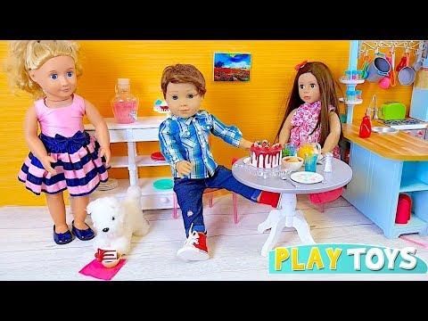 Baby Doll in OG doll bedroom, AG doll bathroom, kitchen toys for kids