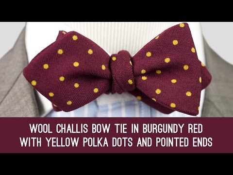 Wool Challis Bow Tie in Burgundy Red with Yellow Polka Dots And Pointed Ends - Fort Belvedere